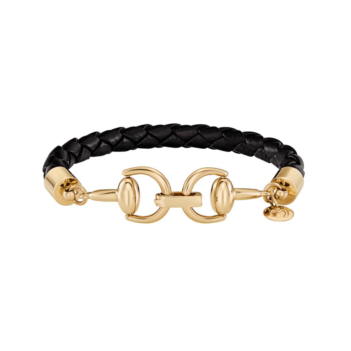 Skórzana bransoletka z wędzidłami z żółtego złota