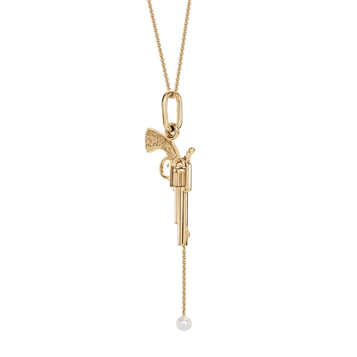 Naszyjnik rewolwer z żółtego złota z perłą