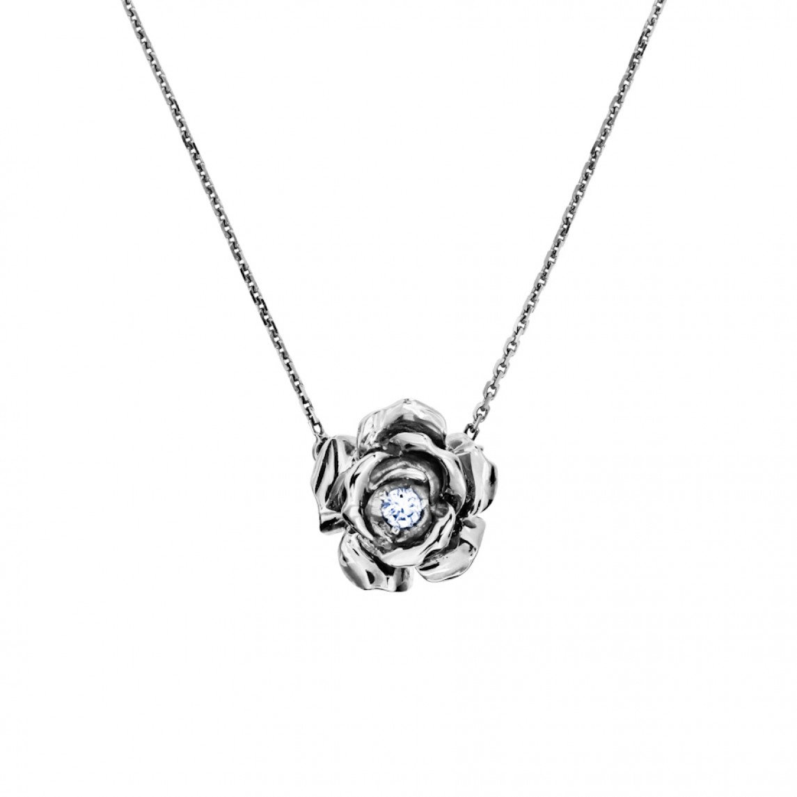 Naszyjnik róża z białego złota z brylantem