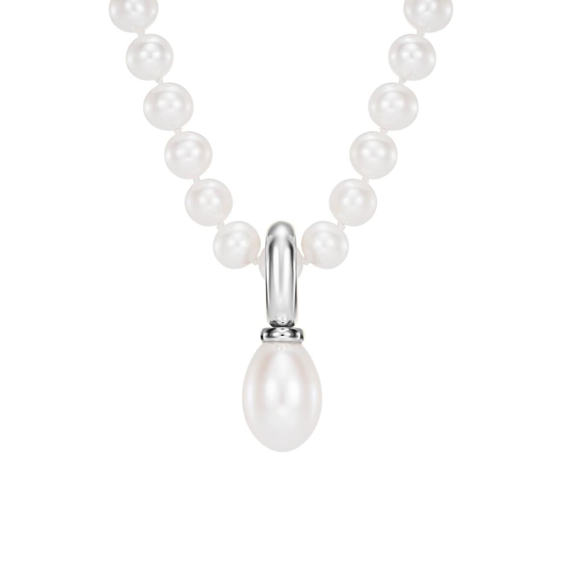 Zawieszka z białego złota z perłą słodkowodną