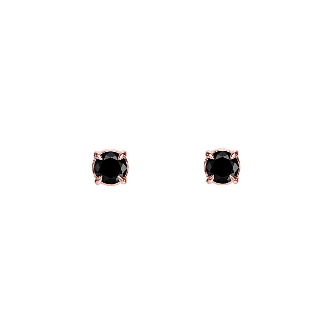 Kolczyki z różowego złota 0,750 z czarnymi diamentami