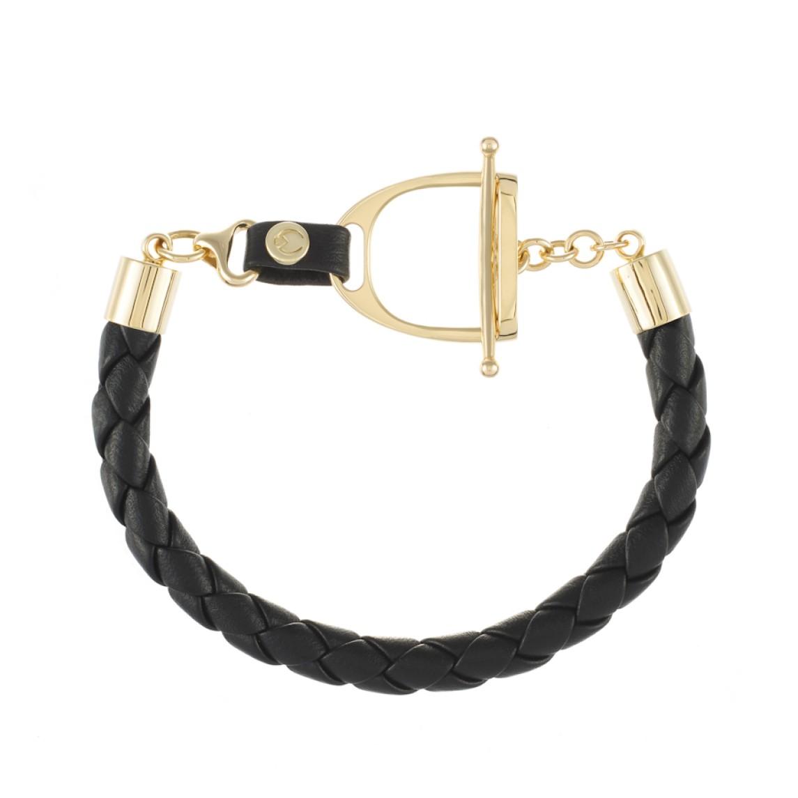 Skórzana bransoletka ze strzemieniem z żółtego złota