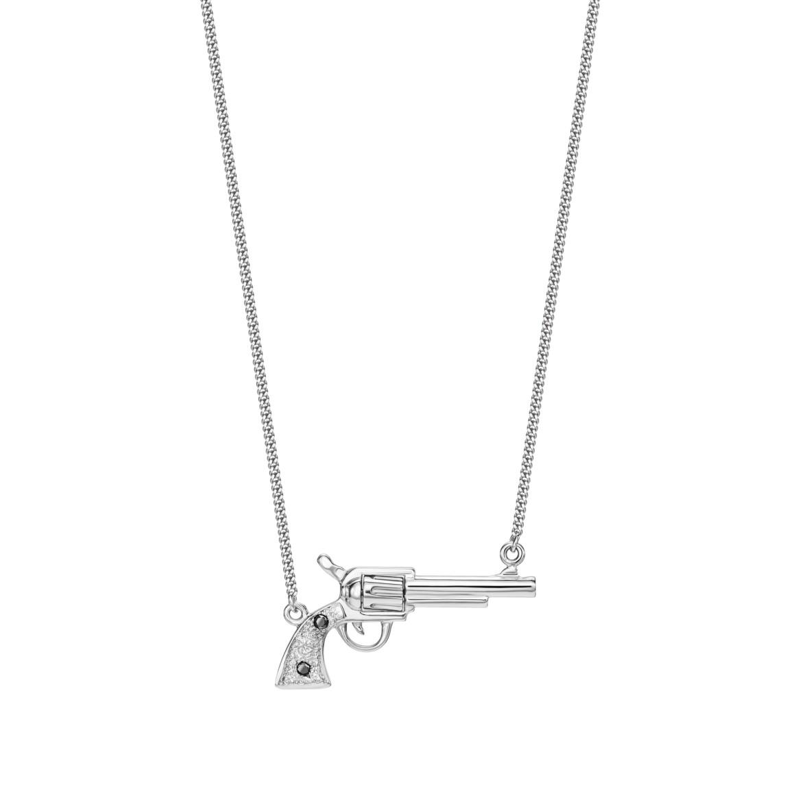 Naszyjnik rewolwer z białego złota z czarnymi diamentami