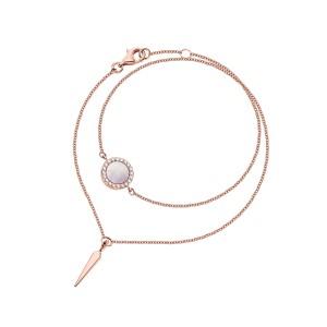 Bransoletka z różowego złota z brylantami i masą perłową