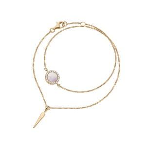 Bransoletka z żółtego złota z brylantami i masą perłową