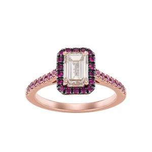 Pierścionek ze złota 0,750 z diamentem, rubinami i szafirami