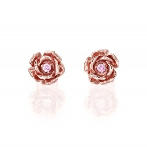 Kolczyki róże z różowego złota z brylantami
