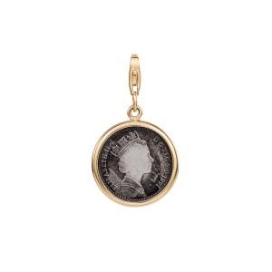 Zawieszka ze złota z monetą srebrną