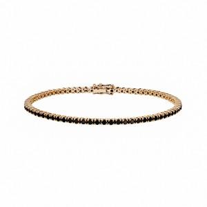 Bransoletka tenisowa z różowego złota 0,750 z czarnymi diamentami