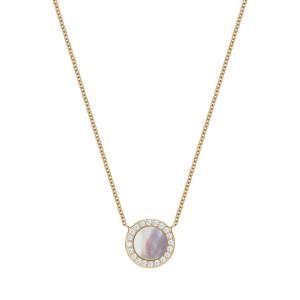 Naszyjnik złoty z brylantami i masą perłową