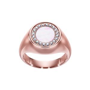 Sygnet z różowego złota z brylantami i masą perłową