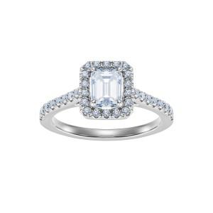 Pierścionek z platyny z diamentem i brylantami