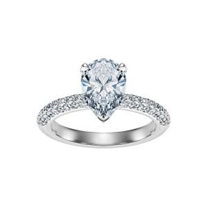 Pierścionek z białego złota 0,750 z diamentem