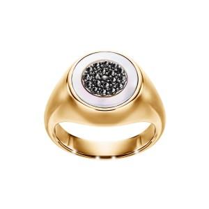 Sygnet z żółtego złota z czarnymi diamentami i masą perłową