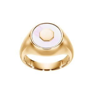 Sygnet z żółtego złota z masą perłową