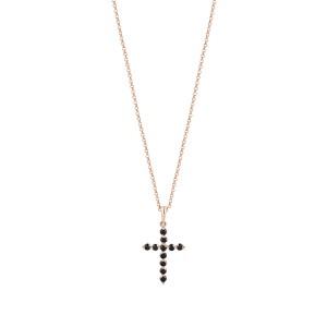 Zawieszka krzyż z różowego złota z czarnymi diamentami