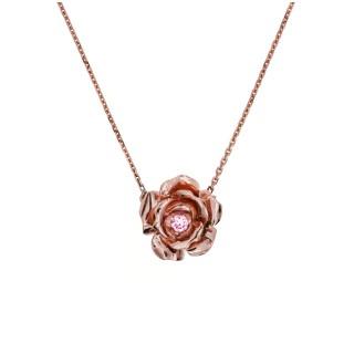 Naszyjnik róża z różowego złota z brylantem