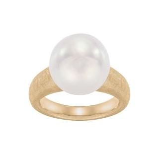 Pierścionek ze złota z perłą w kształcie barokowym