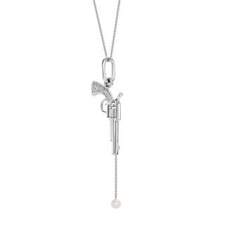 Naszyjnik rewolwer z białego złota z perłą
