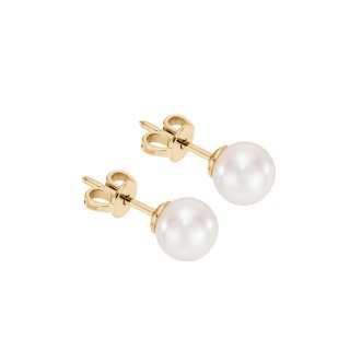 Kolczyki na sztyft z perłami z żółtego złota 0,750