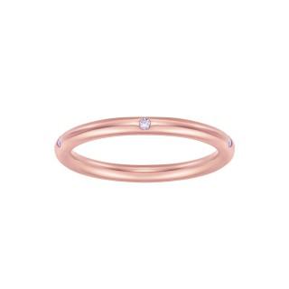 Pierścionek Rings z różowego złota z brylantami