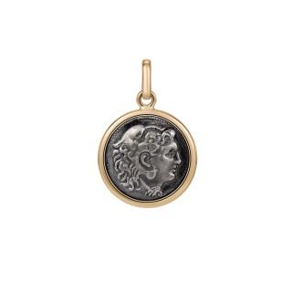 Złota zawieszka Empire z monetą srebrną