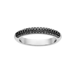 Złoty pierścionek z czarnymi brylantami DRB136B