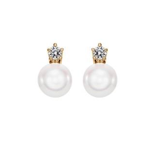 Kolczyki z żółtego złota 0,750 z perłami i brylantami